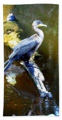 Beach Sheet featuring the photograph   Cormorant 001 by Chris Mercer