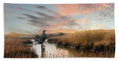 Cormorant At Sunset Beach Towel