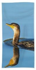 Cormorant Reflection Beach Towel