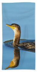 Cormorant Reflection Beach Towel