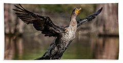 Cormorant Shaking Off Water Beach Towel