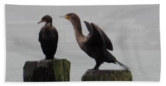 Beach Towel featuring the photograph Cormorants In Bellingham by Karen Molenaar Terrell