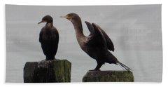 Cormorants In Bellingham Beach Towel