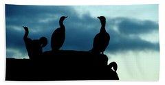 Cormorants In Silhouette Beach Sheet by Victoria Harrington