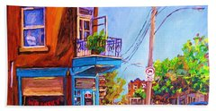 Beach Towel featuring the painting Corner Deli Lunch Counter by Carole Spandau