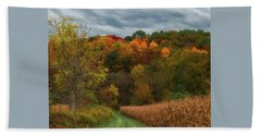 Cornfield In Fall  Beach Towel
