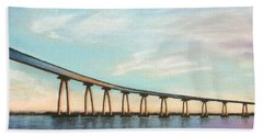 Coronado Bridge Sunset A Beach Towel