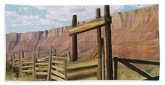 Corral Gate Beach Towel by Walter Colvin