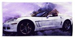 Corvette Convertible Pen And Watercolor Beach Sheet