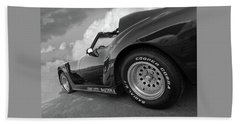 Beach Towel featuring the photograph Corvette Daytona In Black And White by Gill Billington