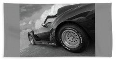 Corvette Daytona In Black And White Beach Sheet by Gill Billington