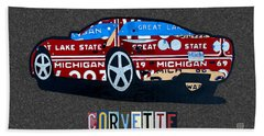 Corvette Recycled Artwork Made With Vintage Recycled Michigan License Plates Beach Towel