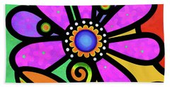 Cosmic Daisy In Pink Beach Towel