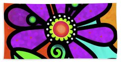 Cosmic Daisy In Purple Beach Towel