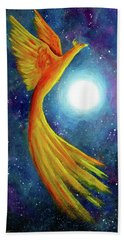 Cosmic Phoenix Rising Beach Towel by Laura Iverson