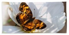 Pearl Crescent Butterfly On White Cosmo Flower Beach Sheet
