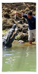 Costa Rica Crocodile 3 Beach Towel by Randall Weidner