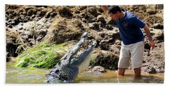 Costa Rica Crocodile 4 Beach Towel by Randall Weidner