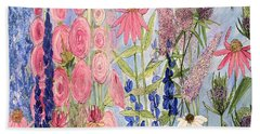 Cottage Flowers With Dragonfly Beach Towel