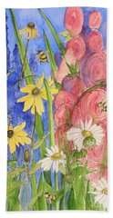 Cottage Garden Daisies And Blue Skies Beach Towel