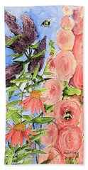 Cottage Garden Hollyhock Bees Blue Skie Beach Towel