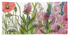 Cottage Hollyhock Garden Beach Towel