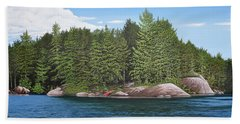 Beach Towel featuring the painting Cottage View Silver Lake by Kenneth M Kirsch