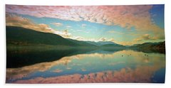 Beach Towel featuring the photograph Cotton Candy Clouds At Skaha Lake by Tara Turner