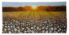 Cotton Field Sunset Beach Towel by Jeanette Jarmon