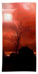 Beach Towel featuring the photograph Cottonwood Crimson Sunset by Joyce Dickens
