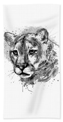 Beach Towel featuring the mixed media Cougar Head Black And White by Marian Voicu