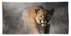 Beach Towel featuring the digital art Cougar Is Gonna Get You by Daniel Eskridge