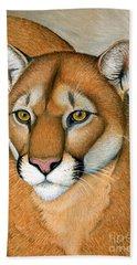 Cougar Portrait Beach Towel