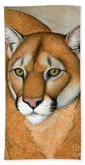 Cougar Portrait Beach Sheet