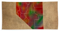 Counties Of Nevada Colorful Vibrant Watercolor State Map On Old Canvas Beach Towel