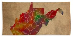 Counties Of West Virginia Colorful Vibrant Watercolor State Map On Old Canvas Beach Towel