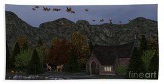Country Church Autumn At Twilight Beach Sheet by Methune Hively