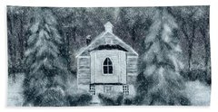 Beach Towel featuring the digital art Country Church On A Snowy Night by Lois Bryan