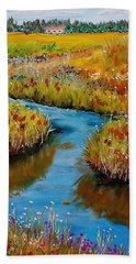 Country Creek Beach Towel by Mike Caitham