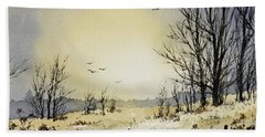 Beach Towel featuring the painting Country Dawn by James Williamson
