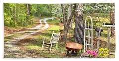 Country Driveway In Springtime Beach Towel