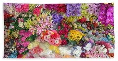Country Flower Garden Colourful Design Beach Towel
