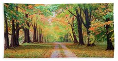 Country Lane - A Walk In Autumn Beach Sheet
