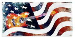 Beach Towel featuring the photograph Country Music Guitar And American Flag by Annie Zeno