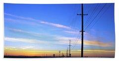 Beach Sheet featuring the photograph Country Open Road Sunset - Blue Sky by Matt Harang