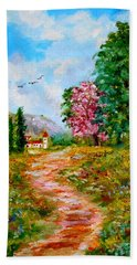 Country Pathway In Greece Beach Towel
