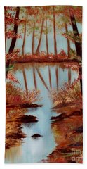 Beach Towel featuring the painting Country Reflections by Leslie Allen