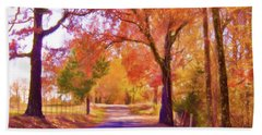 Country Road - Fall Landscape Beach Sheet by Barry Jones