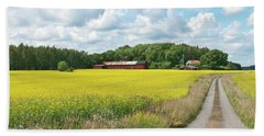 Country Road In Yellow Meadow Beach Towel