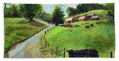 Beach Towel featuring the painting Country Roads Of Georgia- Ellijay Rural Scene by Jan Dappen